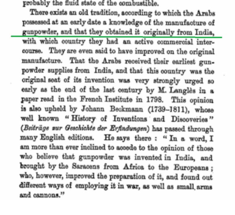 Arabs got gunpowder from India